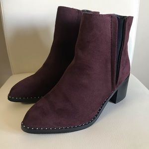 Call It Spring Crareweth Vegan Suede Studded Slip On Ankle Booties Bergundy 8.5